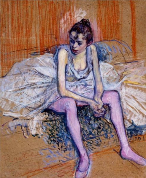 Seated Dancer in Pink Tights 1890