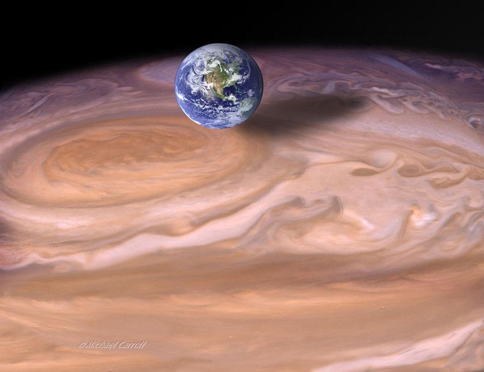 Сравнение пятна Юпитера с Землёй